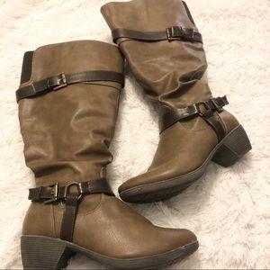 Avenue Paramus Brown Knee High Boots Wide Calf